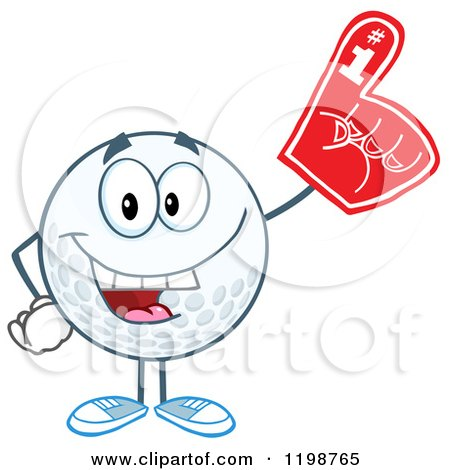 Cartoon of a Golf Ball Character Wearing a Number 1 Foam Finger - Royalty Free Vector Clipart by Hit Toon