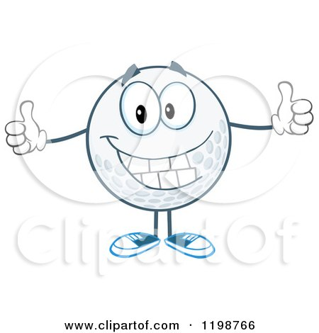 Cartoon of a Happy Golf Ball Character Holding Two Thumbs up - Royalty Free Vector Clipart by Hit Toon