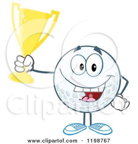 Cartoon of a Victorious Golf Ball Character Holding a Trophy - Royalty Free Vector Clipart by Hit Toon