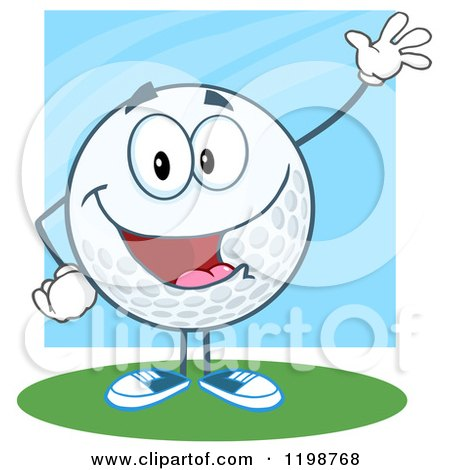 Cartoon of a Happy Waving Golf Ball Character over Blue and Green - Royalty Free Vector Clipart by Hit Toon