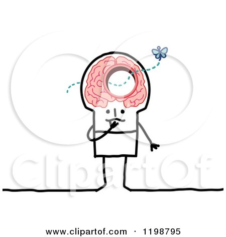 Clipart of a Stick Man with a Butterfly Flying Through a Hole in His Brain - Royalty Free Vector Illustration by NL shop