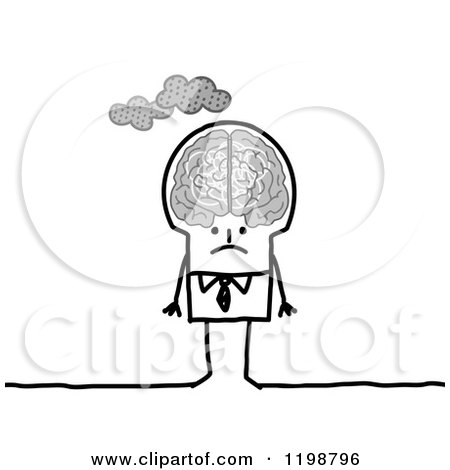 Clipart of a Grumpy Stick Businessman with Clouds over His Brain - Royalty Free Vector Illustration by NL shop