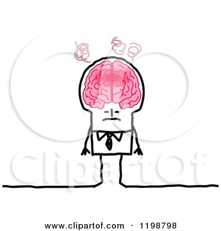 Clipart of a Stick Man with an over Heating Brain - Royalty Free Vector Illustration by NL shop