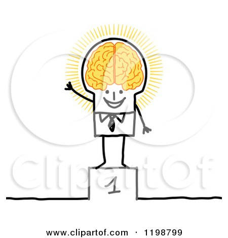Clipart of a Proud Stick Man on a First Place Platform, with a Glowing Brain - Royalty Free Vector Illustration by NL shop
