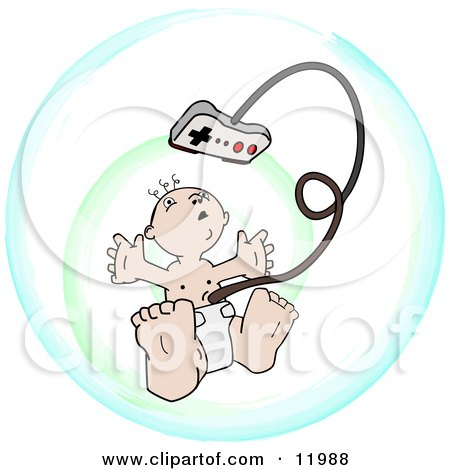 Royalty-free people clipart illustration of a baby in a diaper,