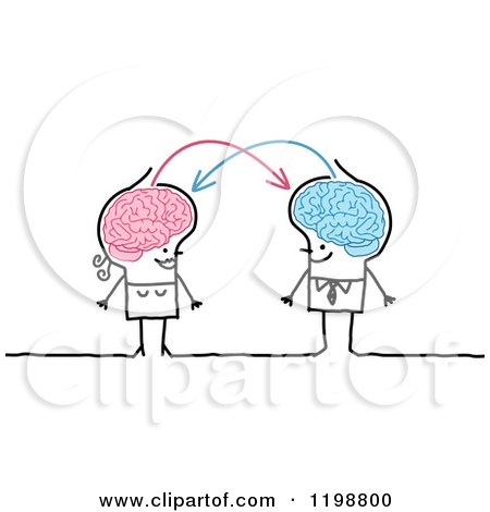 Clipart of a Happy Stick Couple with Connected Brains Sharing Information - Royalty Free Vector Illustration by NL shop