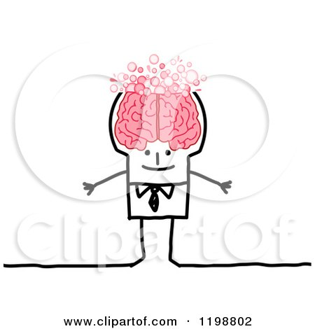 Clipart of a Happy Stick Man with a Bubbly Brain - Royalty Free Vector Illustration by NL shop