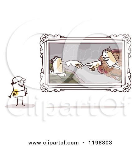 Clipart of a Stick Man Viewing the Creation of Adam by Michelangelo in an Art Gallery - Royalty Free Vector Illustration by NL shop