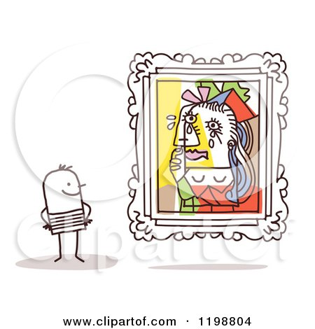 Clipart of a Stick Man Viewing the Weeping Woman Picasso Masterpiece in an Art Gallery - Royalty Free Vector Illustration by NL shop
