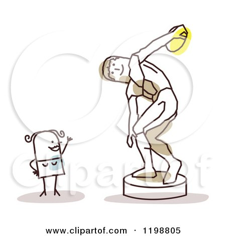 Clipart of a Happy Stick Woman at the Discus Thrower Statue - Royalty Free Vector Illustration by NL shop