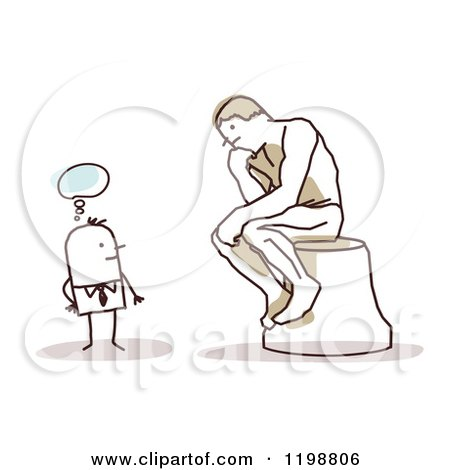 Clipart of a Stick Man Gazing at the Thinker Statue - Royalty Free Vector Illustration by NL shop