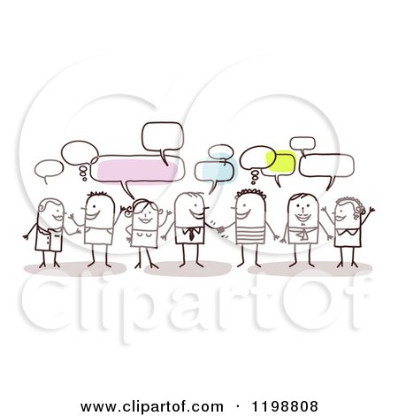 Clipart of a Group of Friendly Stick People Networking and Talking - Royalty Free Vector Illustration by NL shop