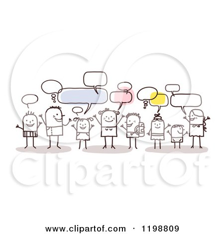 Clipart of a Group of Young Stick People Networking and Talking - Royalty Free Vector Illustration by NL shop