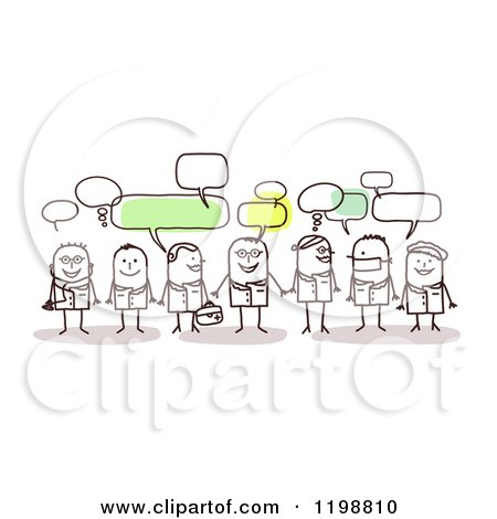 Clipart of a Group of Doctor and Surgeon Stick People Networking and Talking - Royalty Free Vector Illustration by NL shop