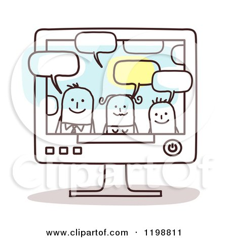 Clipart of a Happy Stick Family Talking Through a Computer - Royalty Free Vector Illustration by NL shop