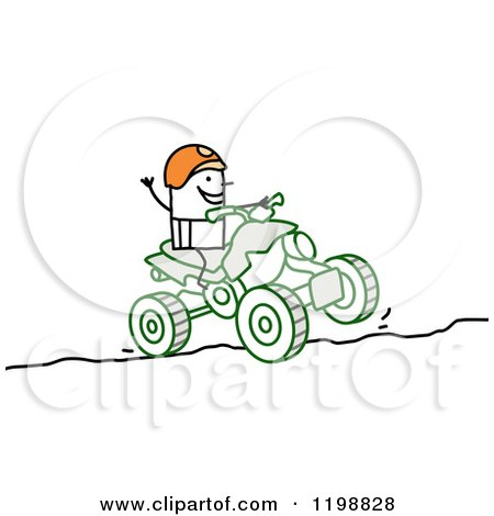 stick man riding a quad atv coloring page