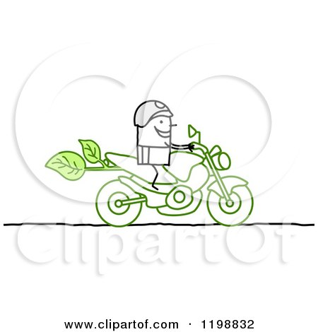 Clipart of a Stick Biker on a Green Motorcycle - Royalty Free Vector Illustration by NL shop