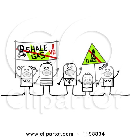 Clipart of Stick People Protesting Pollution - Royalty Free Vector Illustration by NL shop