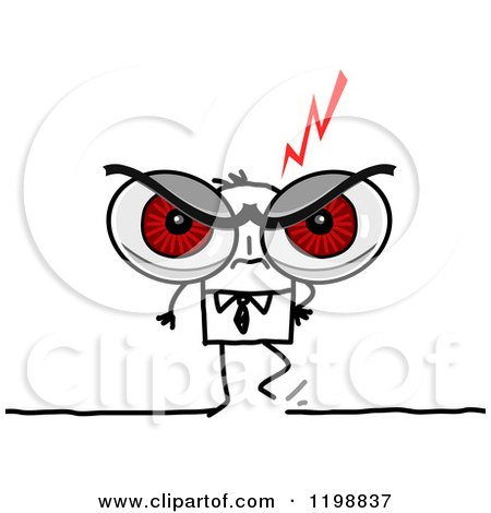 Clipart of a Stick Businessman with Giant Red Angry Eyes - Royalty Free Vector Illustration by NL shop