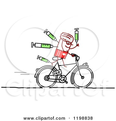 Clipart of a Stick Tour De France Bicyclist with Syringes - Royalty Free Vector Illustration by NL shop