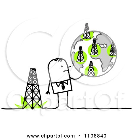 Clipart of a Stick Businessman Holding a Globe of Towers - Royalty Free Vector Illustration by NL shop