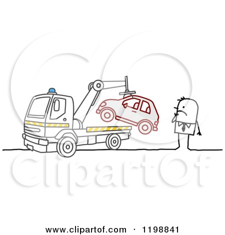 Clipart of a Stick Man Watching His Car Get Towed - Royalty Free Vector Illustration by NL shop