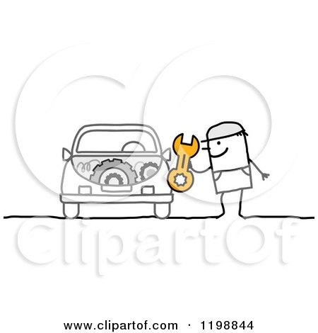 Clipart of a Stick Man Mechanic Holding a Wrench by a Car - Royalty Free Vector Illustration by NL shop