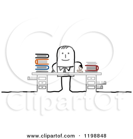 Clipart of a Happy Stick Businessman Stamping Paperwork at His Desk - Royalty Free Vector Illustration by NL shop