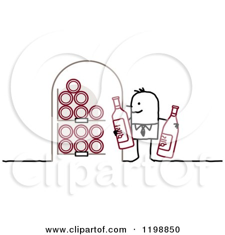 Stick Man Holding Bottles in His Wine Cellar Posters, Art Prints