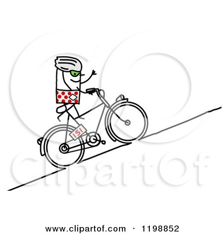 Clipart of a Stick Tour De France Bicyclist Riding Uphill - Royalty Free Vector Illustration by NL shop