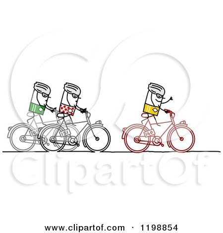 Clipart of Stick People Riding Bikes in Tour De France - Royalty Free Vector Illustration by NL shop