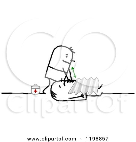 Clipart of a Stick Paramedic Man Helping a Victim - Royalty Free Vector Illustration by NL shop