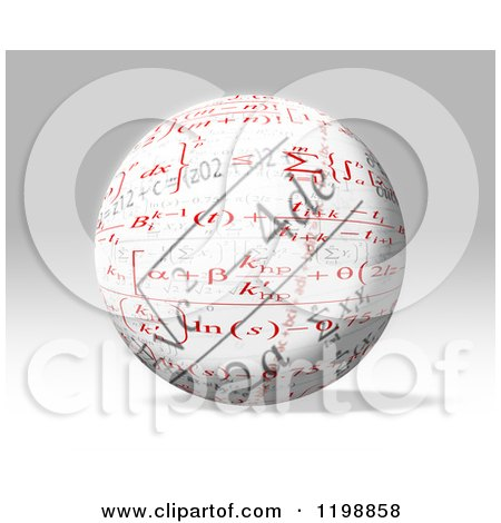 Clipart of a 3d Sphere with Mathematic Fomulas over Gray - Royalty Free CGI Illustration by MacX