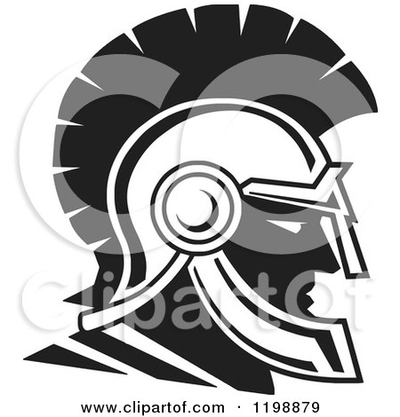 Clipart of a Black and White Trojan Warrior Helmet - Royalty Free Vector Illustration by Johnny Sajem