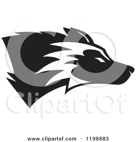 Clipart of a Black and White Husky Mascot Dog - Royalty Free Vector Illustration by Johnny Sajem