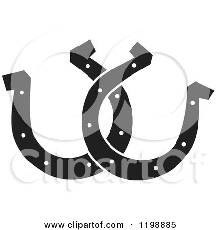 Clipart of Black and White Horseshoes - Royalty Free Vector Illustration by Johnny Sajem