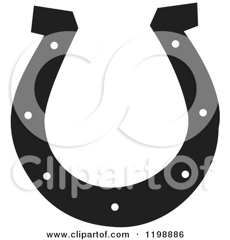 Clipart of a Black and White Horseshoe - Royalty Free Vector Illustration by Johnny Sajem
