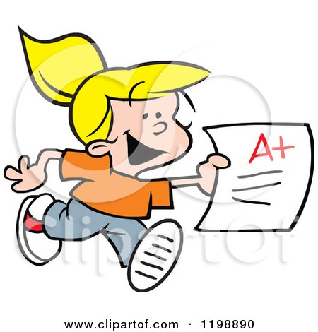 Cartoon of a Happy Blond School Girl Running with an a Plus Report Card - Royalty Free Vector Clipart by Johnny Sajem