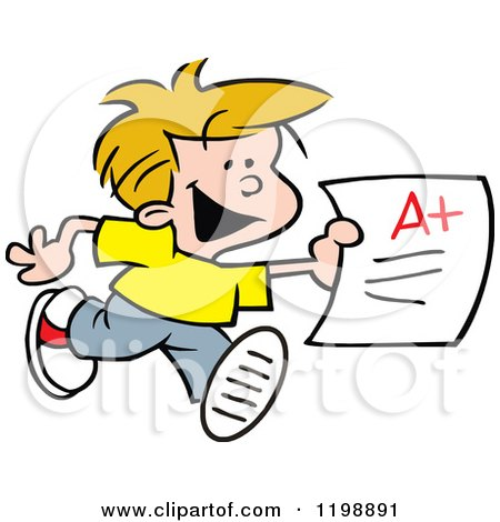 Cartoon of a Happy School Boy Running with an a Plus Report Card - Royalty Free Vector Clipart by Johnny Sajem