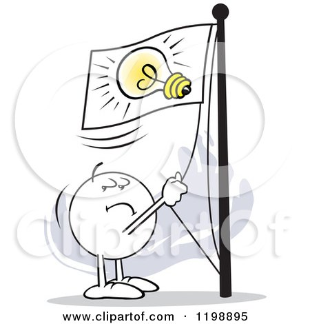 Cartoon of a Moodie Character Flying a Lightbulb Flag - Royalty Free Vector Clipart by Johnny Sajem