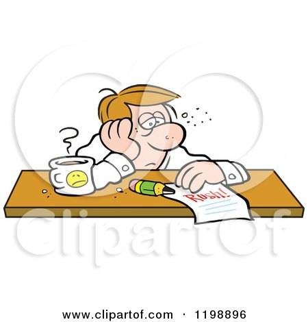 Cartoon of an Exhausted Businessman Doubtful of Making His Deadline - Royalty Free Vector Clipart by Johnny Sajem