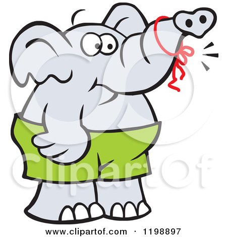 Cartoon of a Forgetful Elephant with a Reminder Ribbon on ...