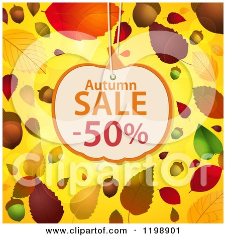 Clipart of a Pumpkin Shaped Autumn Sale Discount Tag over Acorns Leaves and Flares on Yellow - Royalty Free Vector Illustration by elaineitalia
