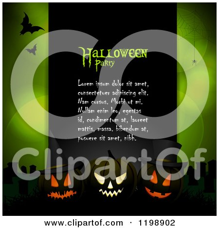 Clipart of a Black Panel with Halloween Party Sample Text, Glowing Pumpkins and Bats over Green with Flares and Spiders - Royalty Free Vector Illustration by elaineitalia