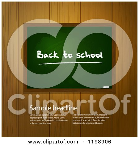 Clipart of a Back to School Chalkboard over Wooden Panels with Sample Text - Royalty Free Vector Illustration by elaineitalia