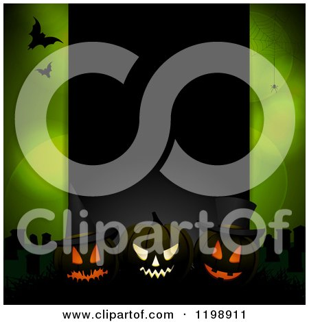 Clipart of a Black Panel with Glowing Halloween Pumpkins and Bats over Green with Flares and Spiders - Royalty Free Vector Illustration by elaineitalia