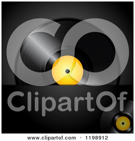 Clipart of a Vinyl Record Album with a Yellow Center over Black with Text Space - Royalty Free Vector Illustration by elaineitalia