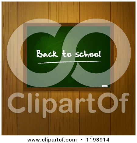 Clipart of a Back to School Chalkboard over Wooden Panels - Royalty Free Vector Illustration by elaineitalia