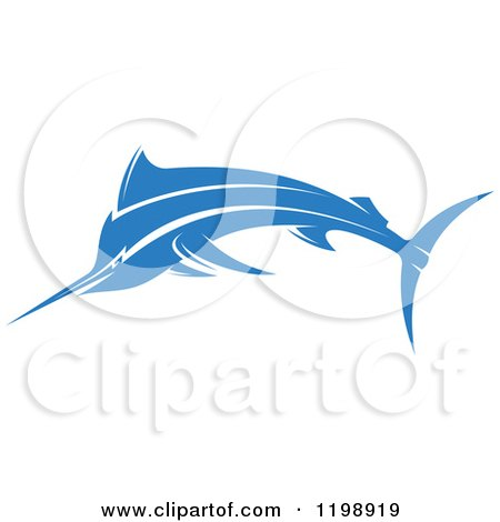 Clipart of a Simple Blue Marlin Fish - Royalty Free Vector Illustration by Vector Tradition SM