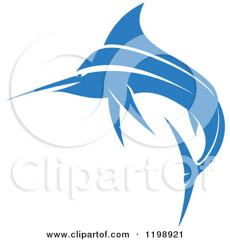 Clipart of a Simple Blue Marlin Fish 2 - Royalty Free Vector Illustration by Vector Tradition SM